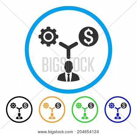 Business Scheme icon. Vector illustration style is a flat iconic business scheme grey rounded symbol inside light blue circle with black, green, blue, yellow color variants.