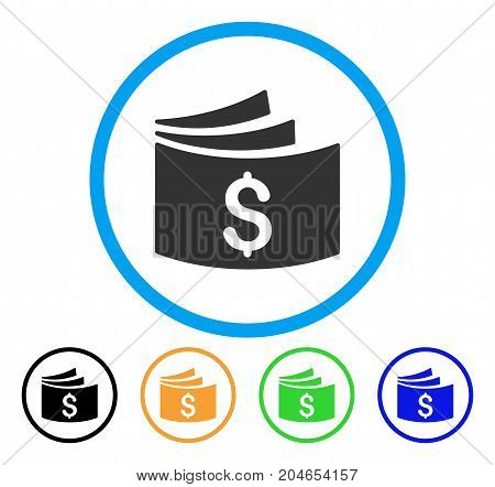 Checkbook icon. Vector illustration style is a flat iconic checkbook gray rounded symbol inside light blue circle with black, green, blue, yellow color variants.