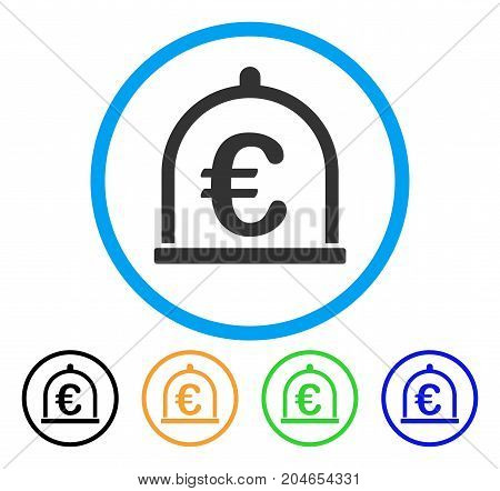 Euro Storage icon. Vector illustration style is a flat iconic euro storage gray rounded symbol inside light blue circle with black, green, blue, yellow color versions.