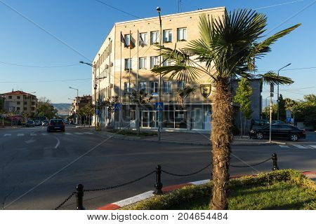 PETRICH, BULGARIA - SEPTEMBER 6, 2017:  Building of town hall in Centre of Petrich, Blagoevgrad region, Bulgaria