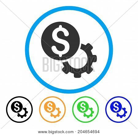Payment Tools icon. Vector illustration style is a flat iconic payment tools grey rounded symbol inside light blue circle with black, green, blue, yellow color variants.