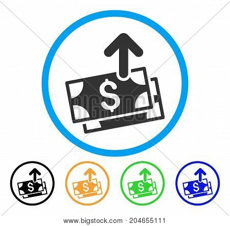 Send Banknotes icon. Vector illustration style is a flat iconic send banknotes gray rounded symbol inside light blue circle with black, green, blue, yellow color variants.