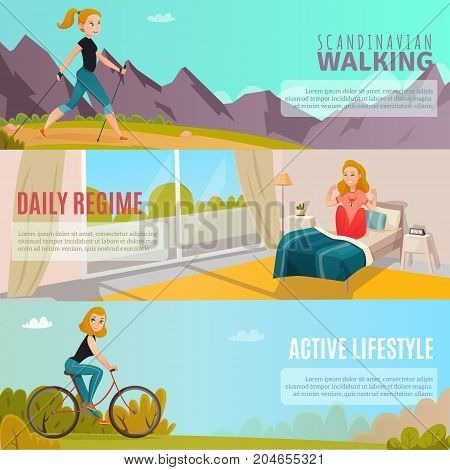 Cartoon set of horizontal banners with happy girls doing sports and leading healthy active lifestyle isolated vector illustration
