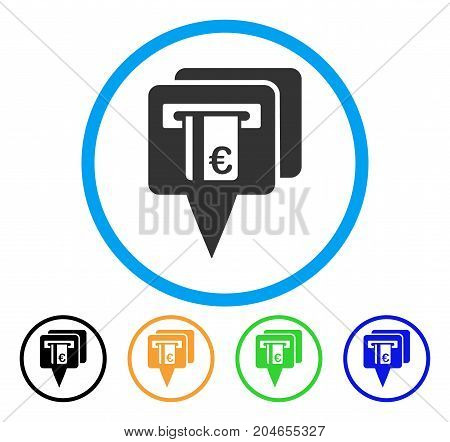 Euro ATM Pointers icon. Vector illustration style is a flat iconic euro ATM pointers grey rounded symbol inside light blue circle with black, green, blue, yellow color versions.