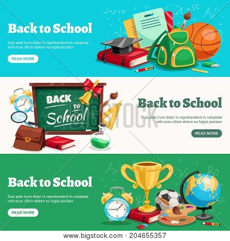 Back to school 3 horizontal banners webpage design with classroom ready backpacks chalkboard stationary supplies isolated vector illustration