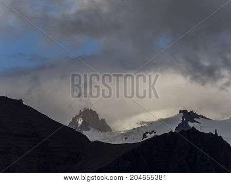 High mountains in cloud. Iceland mountains Vatnajkull glacier