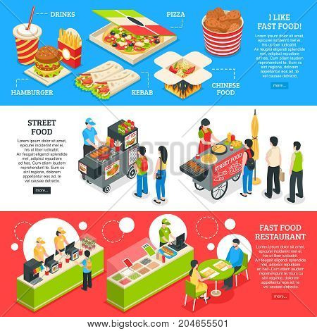 Fast food restaurants streets mobile carts and home delivery orders menu 3 isometric horizontal banners vector illustration