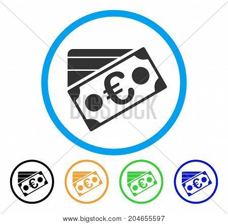 Euro Banknote And Credit Card icon. Vector illustration style is a flat iconic euro banknote and credit card gray rounded symbol inside light blue circle with black, green, blue,