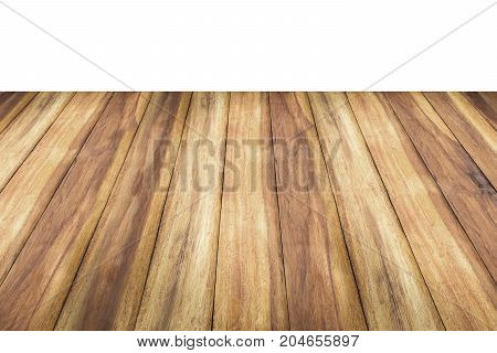 Old wood floor isolated on white background.