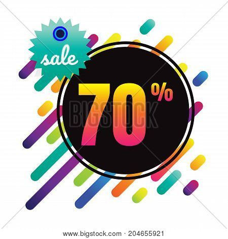 Sale discount 70% banner on white background. vector illustration. colorful