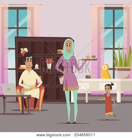 Arabic woman and family background with husband and child flat vector illustration