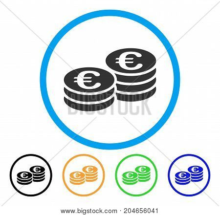 Euro Coin Stacks icon. Vector illustration style is a flat iconic euro coin stacks grey rounded symbol inside light blue circle with black, green, blue, yellow color variants.