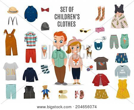 Colored flat children fashion big icon set with set of children clothes headline vector illustration