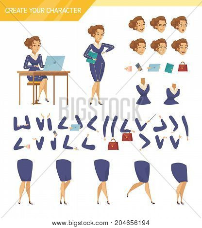 Office female worker character creator constructor elements collection with hands legs heads and accessories isolated vector illustration
