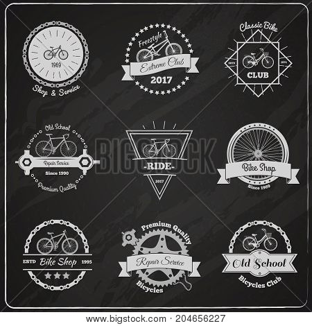 Collection of bicycle vintage emblems on chalkboard with flat wheels chains decorative design elements and captions vector illustration