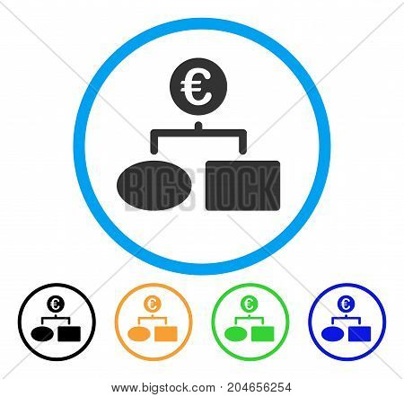 Euro Flow Chart icon. Vector illustration style is a flat iconic euro flow chart grey rounded symbol inside light blue circle with black, green, blue, yellow color variants.