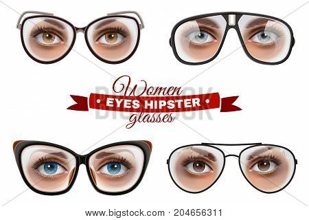 Women eyes hipster glasses collection background with decorative text and isolated images of female eyes in spectacles vector illustration