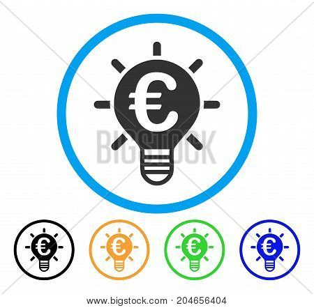 Euro Innovation icon. Vector illustration style is a flat iconic euro innovation gray rounded symbol inside light blue circle with black, green, blue, yellow color variants.