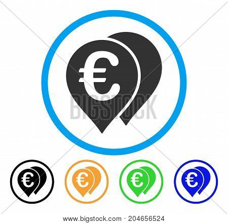 Euro Map Markers icon. Vector illustration style is a flat iconic euro map markers grey rounded symbol inside light blue circle with black, green, blue, yellow color variants.