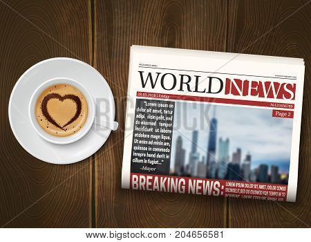 Morning world news realistic poster with cup coffee and folded newspaper on dark wood background vector illustration