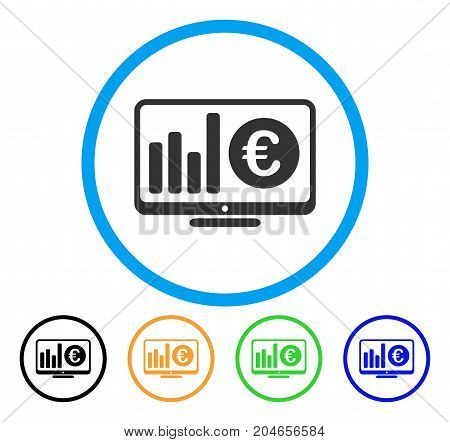 Euro Market Monitoring icon. Vector illustration style is a flat iconic euro market monitoring gray rounded symbol inside light blue circle with black, green, blue, yellow color variants.