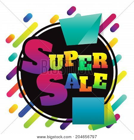 super sale discount banner on white background. vector illustration. colorful