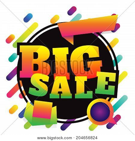 big sale discount banner on white background. vector illustration. colorful