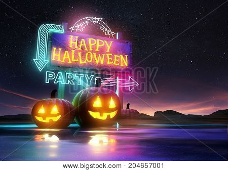 Halloween party background design with glowing signs and pumpkins. 3D illustration.