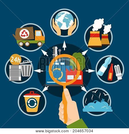 Garbage concept with flat images of human hand magnifying lens and utility waste recyclable material symbols vector illustration