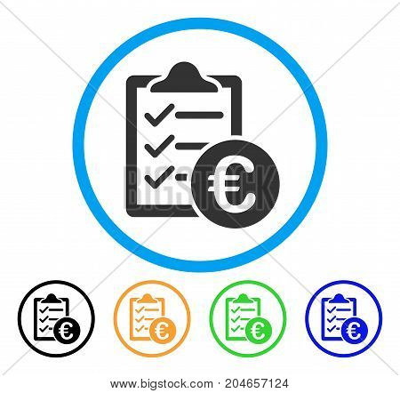 Euro Purchase Pad icon. Vector illustration style is a flat iconic euro purchase pad gray rounded symbol inside light blue circle with black, green, blue, yellow color versions.
