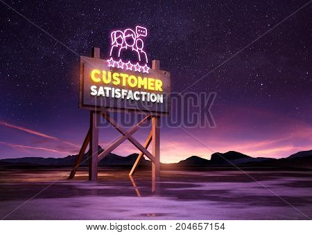 customer satisfaction neon road sign glowing at night. Mixed media illustration