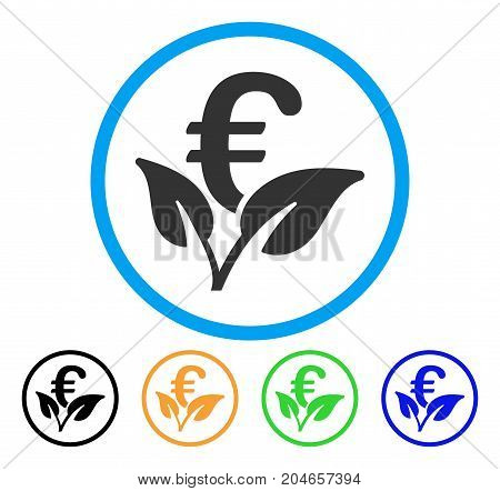 Euro Startup Sprout icon. Vector illustration style is a flat iconic euro startup sprout gray rounded symbol inside light blue circle with black, green, blue, yellow color versions.