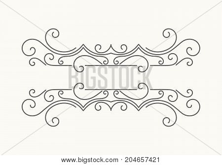 Hand drawn decorative border in retro style. Elegant vintage calligraphic vignette or divider for greeting card, banner, retro party, wedding invitation, menu, postcard. Vector illustration.