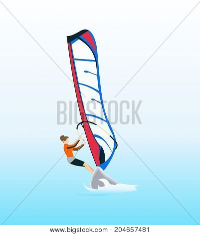 Isolated windsurf in ocean. Extreme sport equipment.
