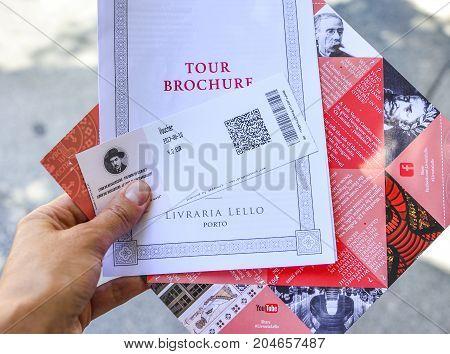 PORTOPORTUGAL - AUGUST 10 2017 : Ticket with price for Livraria Lello bookstore Porto Portugal