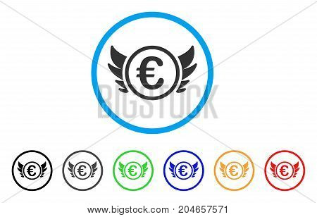 Euro Angel Investment rounded icon. Style is a flat euro angel investment grey symbol inside light blue circle with black, gray, green, blue, red, orange color versions.