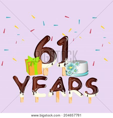 Happy Birthday 61 years card. Vector illustration