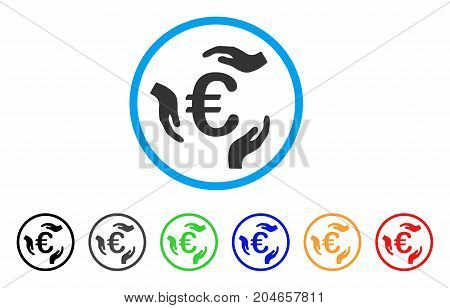 Euro Care Hands rounded icon. Style is a flat euro care hands gray symbol inside light blue circle with black, gray, green, blue, red, orange variants. Vector designed for web and software interfaces.