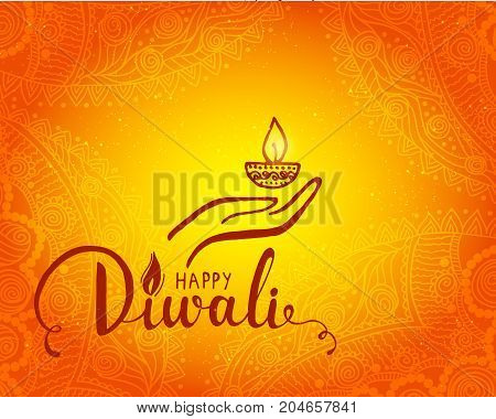 Elegant card design of traditional Indian festival Diwali with lamp. Beautiful greeting card for festival of diwali celebration.