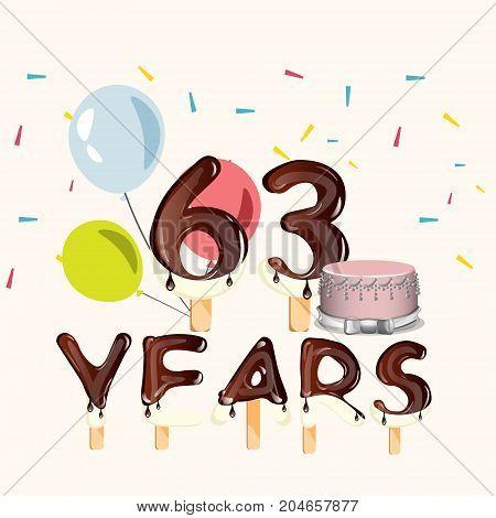63 Years Happy Birthday card. Vector illustration