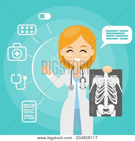 Doctor with x ray. Woman holding ray images.