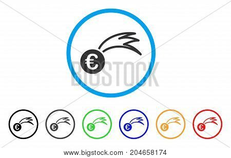 Euro Falling Meteor rounded icon. Style is a flat euro falling meteor grey symbol inside light blue circle with black, gray, green, blue, red, orange color versions.