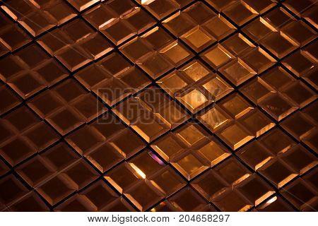 Dark Bronze Reflective Glass Rhombus Diamond Abstract Texture And Background