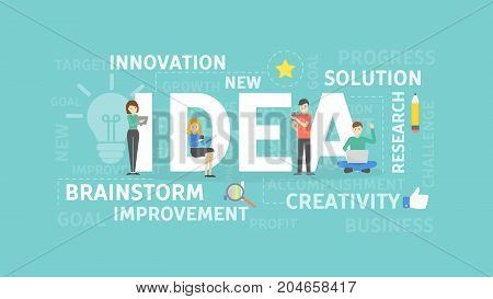 Idea concept illustration. Solution and creativity, brainstorm and innovation.