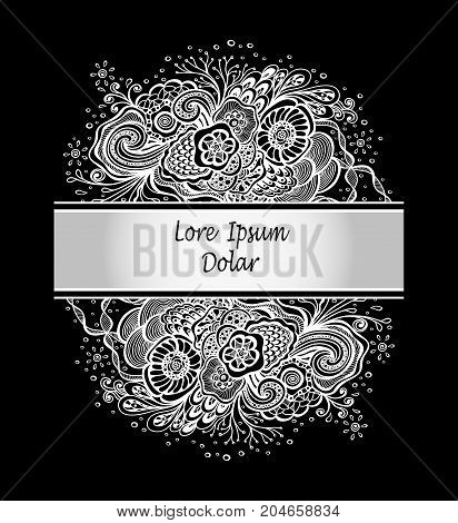 Template with abstract marine flowers bouquet in silver on black for decoration  package of perfume cosmetic shampoo soap or for advertising other things