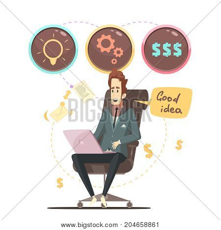 Successful business project manager in office armchair with good ideas bubbles icons retro cartoon poster vector illustration