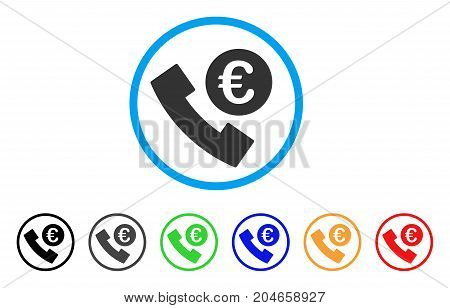 Euro Phone Order rounded icon. Style is a flat euro phone order grey symbol inside light blue circle with black, gray, green, blue, red, orange color versions.