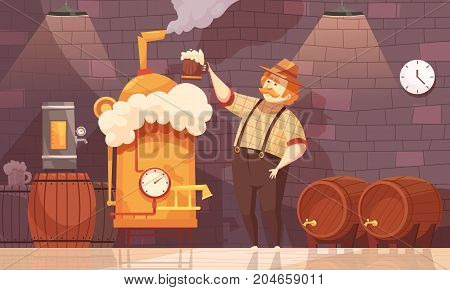 Brewer in own brewery demonstrating beer production near barrels and plant equipment  flat cartoon vector illustration