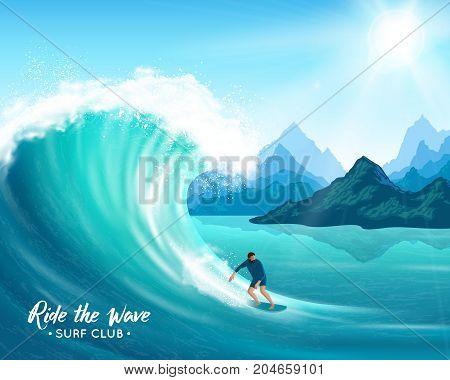 Surfer and big ocean wave on rocks background, sun and blue sky, natural landscape vector illustration