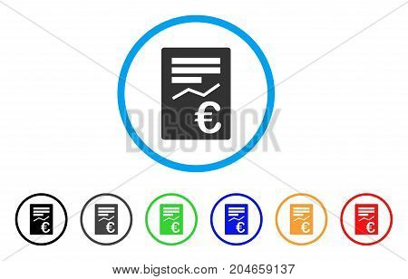 Euro Report rounded icon. Style is a flat euro report grey symbol inside light blue circle with black, gray, green, blue, red, orange color versions. Vector designed for web and software interfaces.